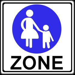 Fußgängerzone: Ein Schild kennzeichnet den Start und das Ende.