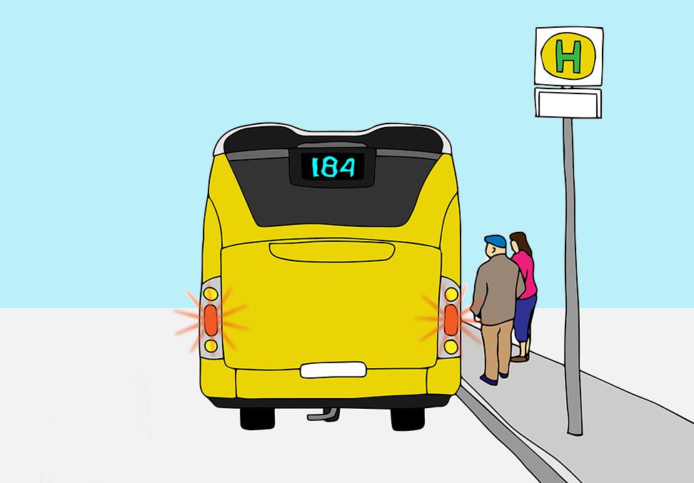 Welche Fahrzeuge dürfen hier nur mit Schrittgeschwindigkeit und unter Ausschluss jeglicher Gefährdung der Fahrgäste vorbeifahren?